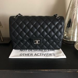Chanel Black Classic Caviar Jumbo Double Flap